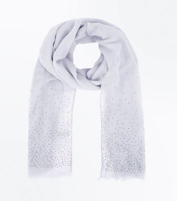 Grey Stud Embellished Scarf