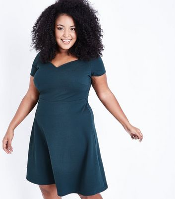 Dark Green Sweetheart Waffle Texture Skater Dress