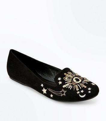 Black Suedette Eye Embellished Loafers