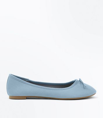 Pale Blue Bow Front Ballet Pumps
