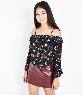 Teens Black Frill Trim Cold Shoulder Top