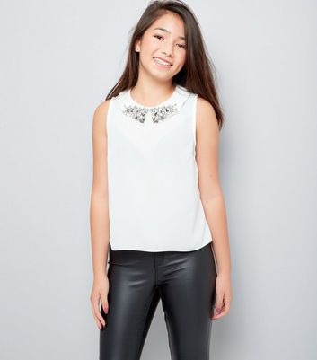 Teens Cream Collar Embroidered Sleeveless Top