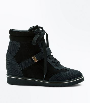 Black Suedette Snakeskin Panel Wedge Trainers