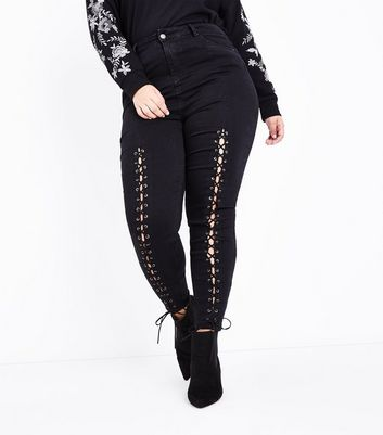 Curves Black Lace Up Front High Waist Skinny Jeans