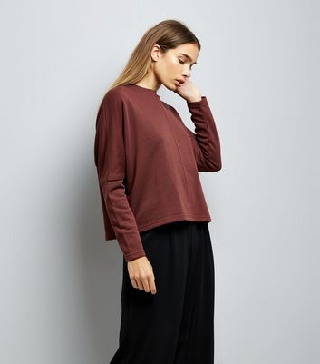 Dark Brown Batwing Sleeve Sweater