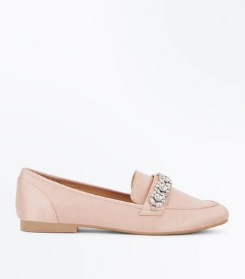Mocassins en satin rose à cristaux