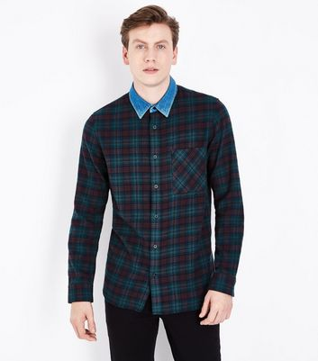 Green Check Shirt With Denim Collar