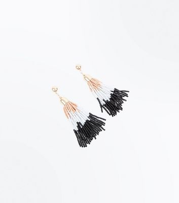 Gold Coloured Bead Tassel Earrings