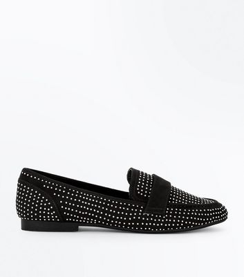 Schwarze Loafers in Wildleder-Optik mit Ziernieten
