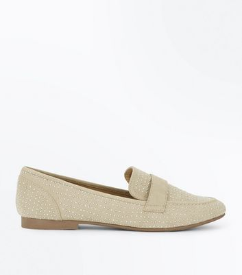 Light Brown Suedette Stud Loafers