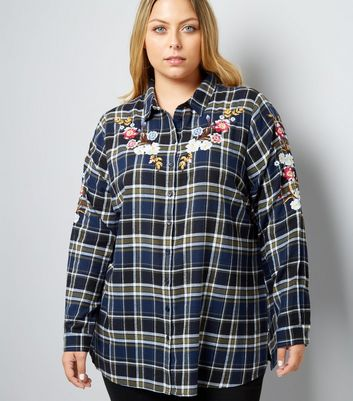 Curves Blue Check Floral Embroidered Shirt