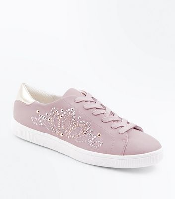Lilac Stud Embellished Lace Up Trainers