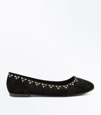 Wide Fit Black Embellished Ballet Pumps