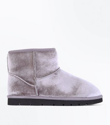 Grey Velvet Faux Shearling Lined Boots