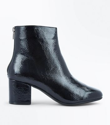 Wide Fit Black Patent Block Heel Ankle Boots