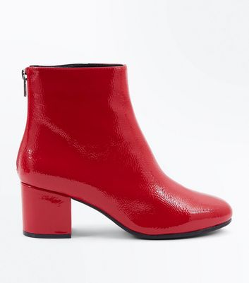 Wide Fit Red Patent Block Heel Ankle Boots