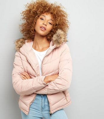Parisian Shell Pink Faux Fur Padded Jacket