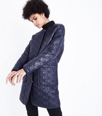 Navy Quilted Star Pattern Longline Jacket
