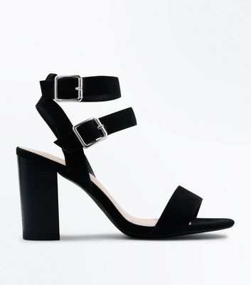 Wide Fit Black Comfort Block Heel Double Strap Sandals