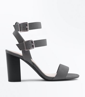 Wide Fit Grey Comfort Block Heel Double Strap Sandals