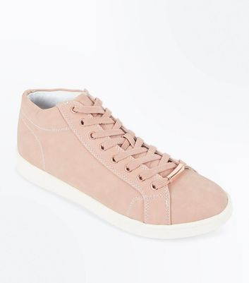 Pink High Top Lace Up Trainers