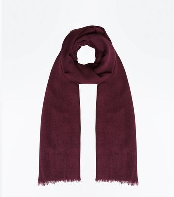 Dark Purple Fray Hem Scarf