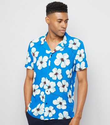 Bright Blue Floral Print Shirt