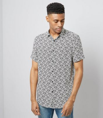 Black Monochome Abstract Print Short Sleeve Shirt