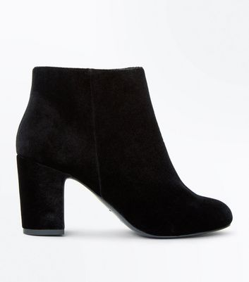Wide Fit Black Velvet Block Heel Boots