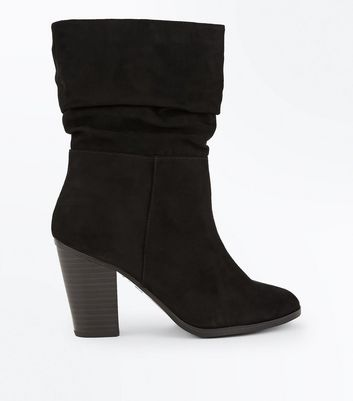 Wide Fit Black Suedette Block Heel Calf Boots