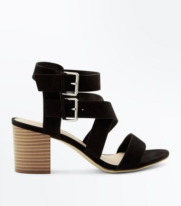 Black Suedette Buckle Side Strappy Block Heels