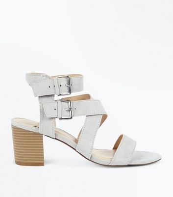 Grey Suedette Buckle Side Strappy Block Heels