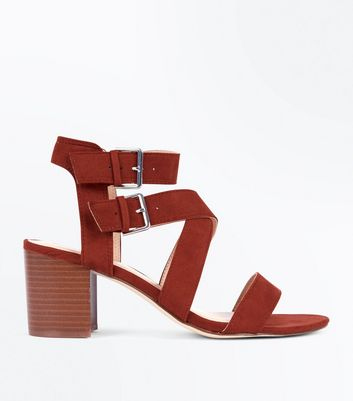 Red Suedette Buckle Side Strappy Block Heels