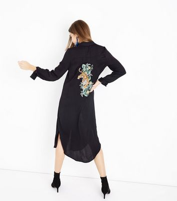 Blue Vanilla Black Satin Tiger Back Shirt Dress