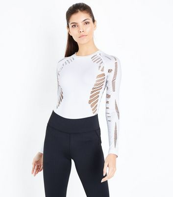 White Ladder Cut Out Sports Body Suit