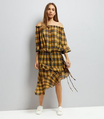 Yellow Chiffon Check Asymmetric Frill Hem Midi Skirt