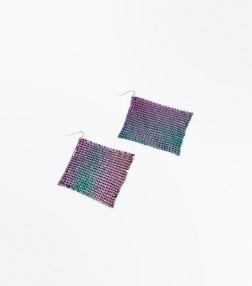 Purple Iridescent Square Chainmail Earrings