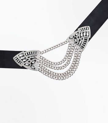 Black Embellished Chain Centre Choker