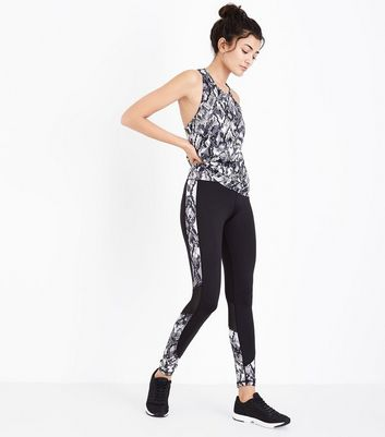 Black Snakeskin Print Panel Sports Leggings