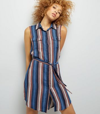 Mela Navy Chevron Stripe Shirt Dress