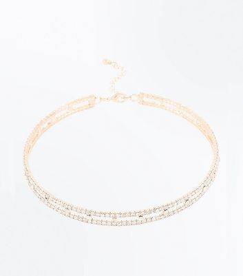 Rose Gold Diamante Embellished Torque Necklace