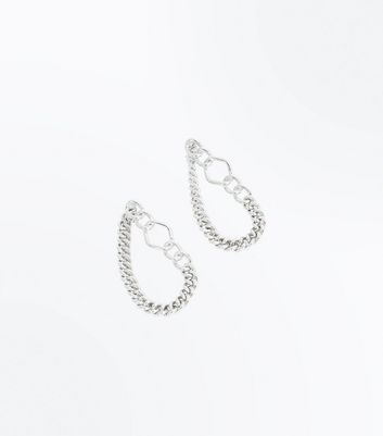 Silver Chain Loop Earrings