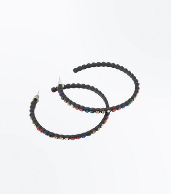 Black Multi Coloured Gem Stone Hoop Earrings