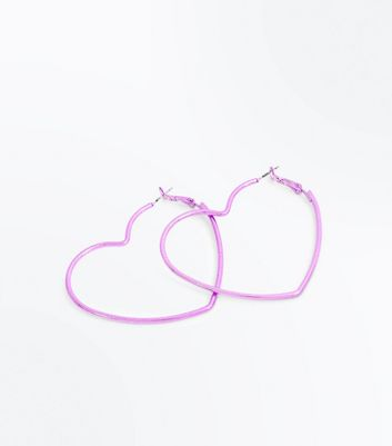 Purple Metallic Heart Hoop Earrings