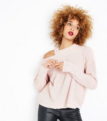 Shell Pink Cut Out Shoulder Jumper