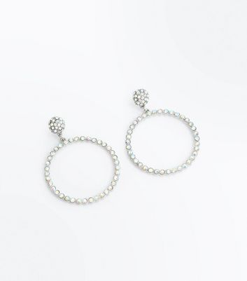 Silver Crystal Embellished Hoop Earrings