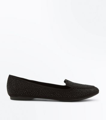 Wide Fit – Schwarze Loafer in Wildleder-Optik mit Schmucksteinverzierung
