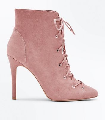 Wide Fit Pink Suedette Lace Up Stiletto Shoe Boots