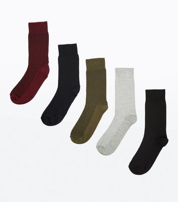 5 Pack Multi Coloured Ribbed Socks