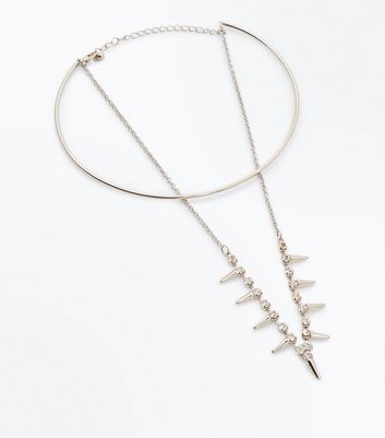 Silver Embellished Layered Spike Necklace